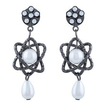 Fancy White Stone Oxidised Dangle Earring For Women