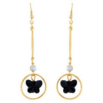 Pretty White Stone Gold Plated Drop Earring For Women