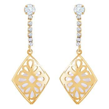 Fancy White Stone Gold Plated Dangle Earring For Women