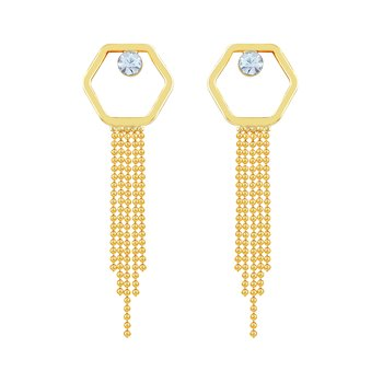 Charming White Stone Gold Plated Dangle Earring For Women