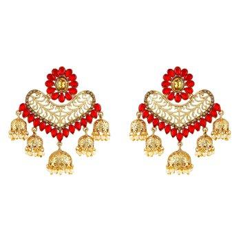 Ethnic Red Kundan Gold Plated Jhumki Earring For Women