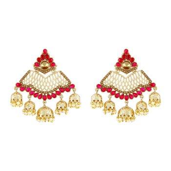 Ethnic Pink Kundan Gold Plated Jhumki Earring For Women