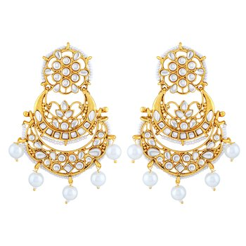 Fancy White Kundan Gold Plated Dangle Earring For Women