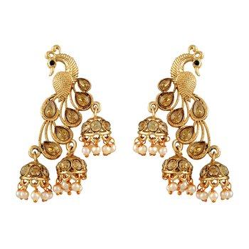 Fancy Gold Kundan Gold Plated Jhumki Earring For Women