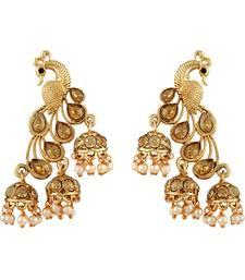Buy Fancy Gold Kundan Gold Plated Jhumki Earring For Women women-ethnic-wear online