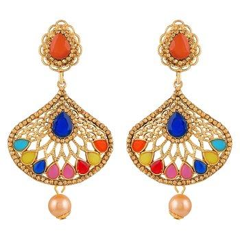 Pretty Multy Color Kundan Gold Plated Dangle Earring For Women