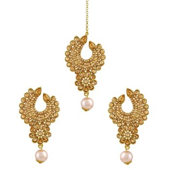 Modern Lct Stone Gold Plated Chandbali Earring With Maang Tikka For Women