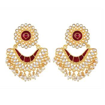 Fancy White Kundan Gold Plated Chandbali Earring For Women