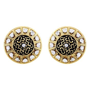 Bewitching Round Shape Filigiree Design Gold Plated Stud Earring For Women