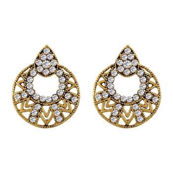 Ravishing Round Shape Gold Plated Dangle Earring For Women