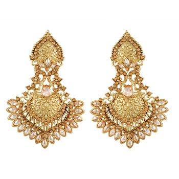 Fine Solitaire Pear Shape Designer Gold Plated Dangle Earring For Women