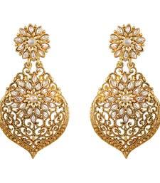 Fancy Flower Shape Gold Plated Dangle Earring For Women