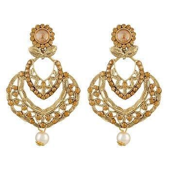 Glittery Flower Shape Gold Plated Dangle Earring For Women