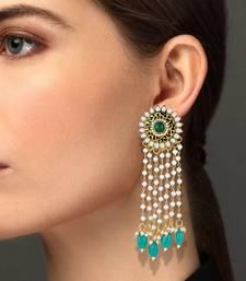 Creative Flower Shape Meenakari Work Gold Plated Dangle Earring For Women