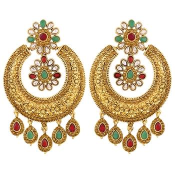 Brilliant Chandbali Shape Gold Plated Dangle Earring For Women