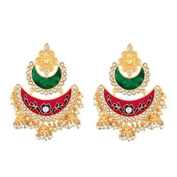 Traditionally Chandbali Shape With Meenakari Work Gold Plated Jhumki Earring For Women