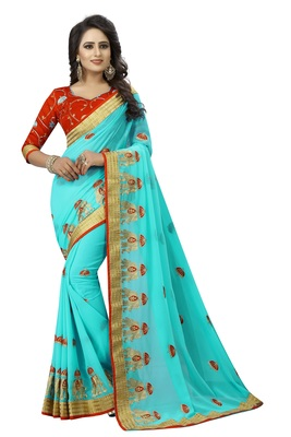 Sky blue embroidered pure georgette saree with blouse