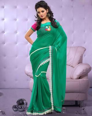 Full Dyed Chiffon Sari Ecocity206
