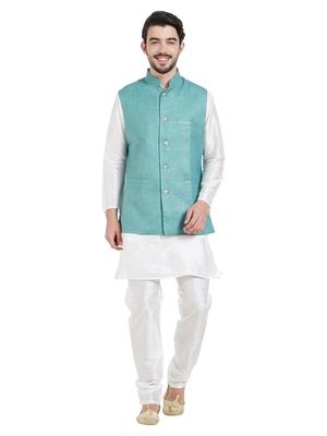 irin Ethnic Blended Cotton Teal Koti (Waistcoat) And White Kurta Churidar For Men