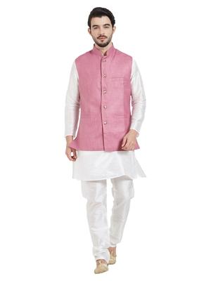 Irin Ethnic Blended Cotton Pink Koti (Waistcoat) And White Kurta Churidar For Men