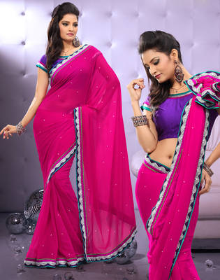 Full Dyed Chiffon Sari Ecocity305