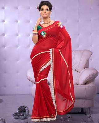 Full Dyed Chiffon Sari Ecocity306