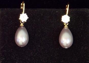 Grey Drop Shape Pearl Cz Stud Earring