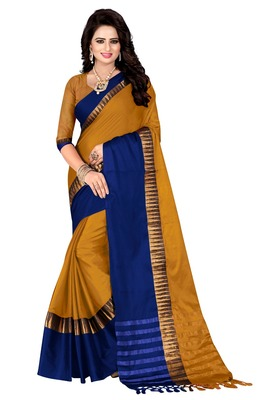 Mustard printed cotton poly saree with blouse