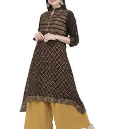 Brown printed cotton long kurti