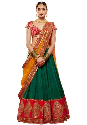 Green embroidered silk unstitched lehenga