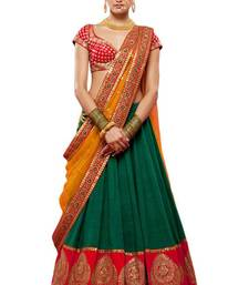 Buy Green embroidered silk unstitched lehenga lehenga-choli online