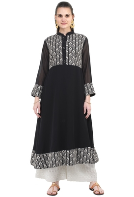 Black printed georgette long-kurtis