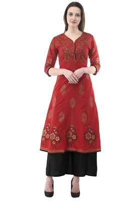 Red printed cotton long-kurtis