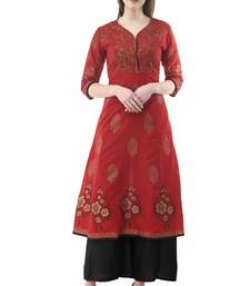 Buy Red printed cotton long-kurtis long-kurtis online