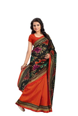 Light multicolor printed silk saree with blouse