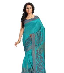 White printed silk saree with blouse