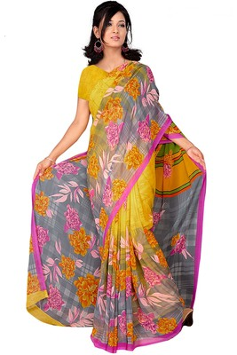Light multicolor printed faux georgette saree with blouse