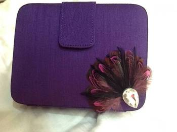 raw silk box clutch with feather and stone