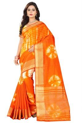 Orange Printed Cotton Silk Saree With Blouse