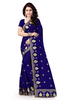 Navy blue embroidered pure silk blend saree with blouse