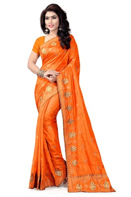 Orange Embroidered Pure Silk Blend Saree With Blouse