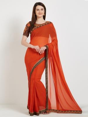 Orange color georgette saree with blouse