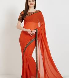 Buy Orange color georgette saree with blouse great-indian-saree-festival online