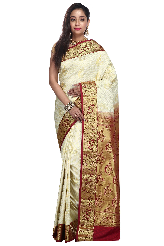 8ecdf55f2c Off white woven art silk saree with blouse - Aayori - 2583388