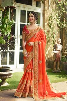 976319ec6 Orange embroidered silk saree with blouse. Shop Now