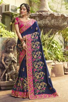 161a767e0 Navy blue embroidered silk saree with blouse. Shop Now