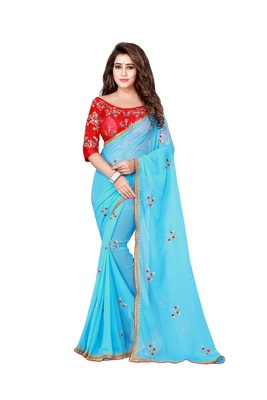 Sky blue embroidered pure chiffon saree with blouse