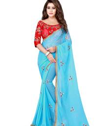 3005a1ed3156aa Sky blue embroidered pure chiffon saree with blouse
