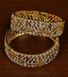 Gold Plated Cubic Zirconia Stone Embellished American Diamond Designer  Bangles for Women b1c49df29dae