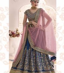 Buy Blue dupion silk heavy embroidery lehenga with dupatta lehenga-choli online
